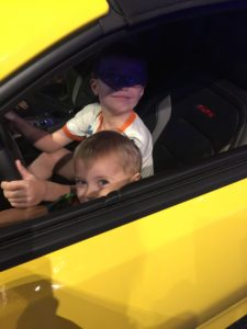 My boys in a fast car!