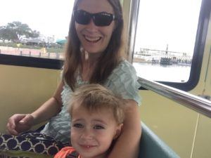 Nathaniel and I on the boat from Magic kingdom to Wilderness lodge.