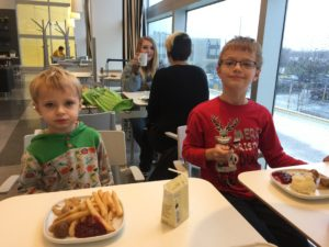 The day after we got back I went crazy and took the kids to Ikea. Nathaniel is half asleep. We had lunch.