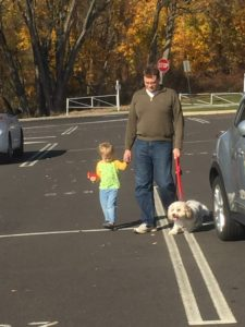 Nathaniel, Tony and Fenway going for a walk before our LONG drive to Florida.